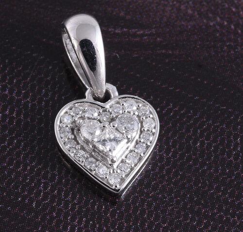 9K White Gold Heart Pendant 0.15 Ct.