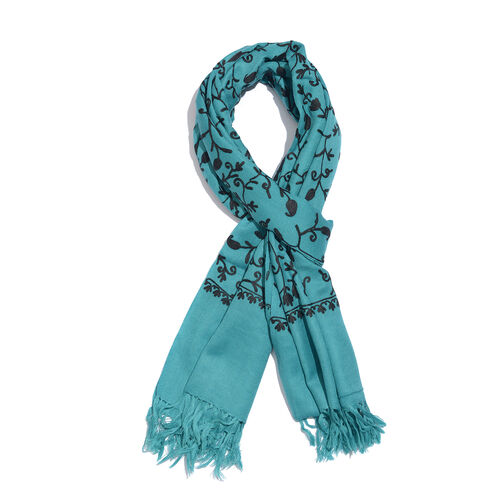 100% Merino Wool Turquoise and Black Colour Paisley and Leaves Embroidered Scarf with Tassels (Size