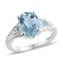 Rare Size Sky Blue Topaz (Ovl 10x8mm) Ring in Sterling Silver 3.250 Ct.