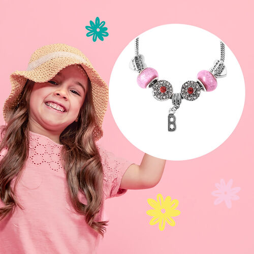 B Initial Charm Bracelet for Children in Simulated Pink Colour Bead, Red and White Austrian Crystal Size 6.5 Inch in Silver Tone