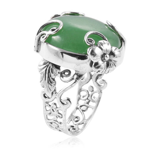 Royal Bali Collection Green Jade (Rnd) Floral Ring in Sterling Silver 24.820 Ct.