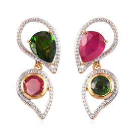 GP 3.65 Ct African Ruby and Multi Gemstone Drop Earrings in Gold Plated Sterling Silver