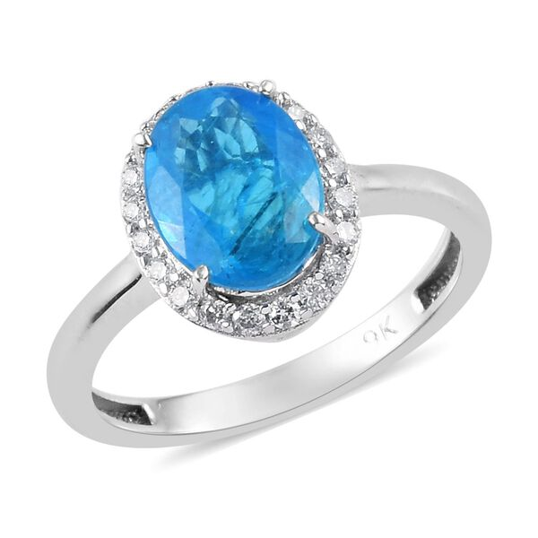 2.15 Ct Neon Apatite and Diamond Halo Ring in 9K White Gold