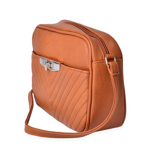 Chocolate Colour Crossbody Bag with Adjustable Shoulder Strap (Size 23.5x15.5x7 Cm)