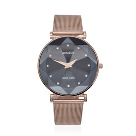 JOWISSA SWISS Ronda Diamond Cut and Crystal Studded Black Enamel Dial FACET Watch with Rose Gold Ton