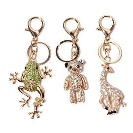Set of 3 - Black, White and Multicolour Austrian Crystal Frog, Teddy Bear and Giraffe Enamelled Keyc