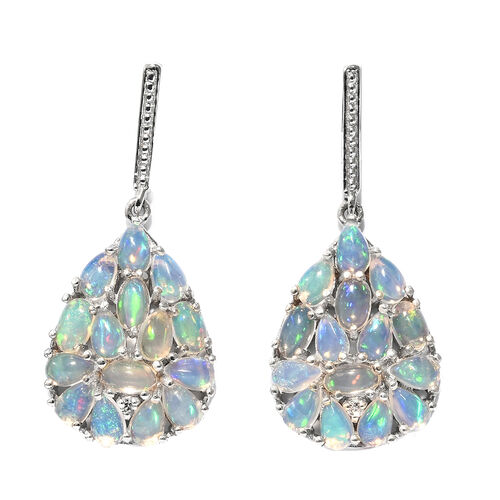 Ethiopian Welo Opal (Ovl and Pear), Natural Cambodian Zircon Earrings (with Push Back) in Platinum Overlay Sterling Silver 4.250 Ct. Silver wt 5.03 Gms.