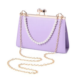 Light Purple Clutch Closure Crossbody Bag with Dangling Pearl Chain and Metallic Shoulder Strap in G