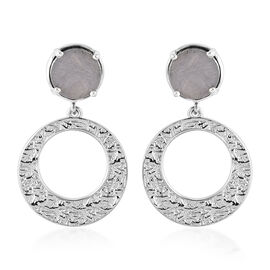 Meteorite Dangling Earrings (with Push Back) in Platinum Overlay Sterling Silver 8.75 Ct, Silver wt.