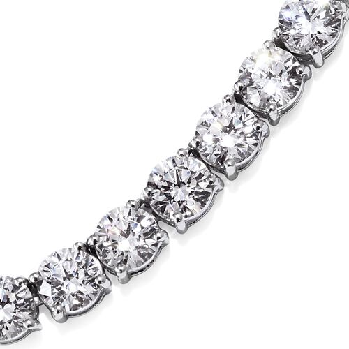 J Francis Platinum Overlay Sterling Silver (Rnd) Necklace (Size 18) Made with SWAROVSKI ZIRCONIA, Silver wt 23.96 Gms.