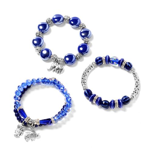 Set of 3- Simulated Blue Sapphire, Austrian White Crystal, Ceramic, Murano Style Glass and Multi Col