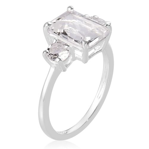 Petalite Trilogy Ring in Platinum Overlay Sterling Silver 2.15 Ct.