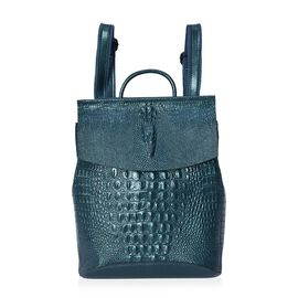 100% Genuine Leather Croc Embossed Backpack (Size 36x33x13 Cm) - Green