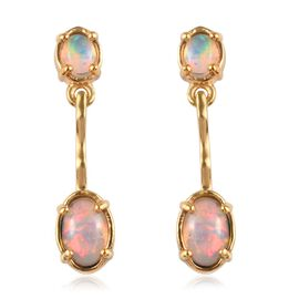 Ethiopian Welo Opal (Ovl) Earrings (with Push Back) in 14K Gold Overlay Sterling Silver 0.900 Ct.