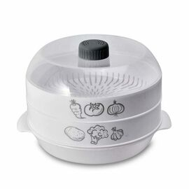 3 - Layer Microwave Steamer with Lid (Size 25x21.5x17.5 Cm) - White