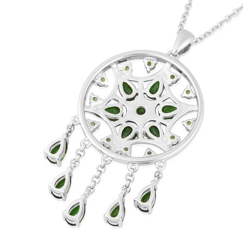 LucyQ Russian Diopside (Pear and Rnd) Dream Catcher Necklace (Size 20) in Rhodium Overlay Sterling Silver 3.400 Ct, Silver wt 7.76 Gms
