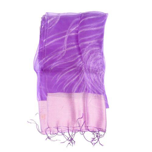 100% Mulberry Silk Purple Colour Scarf (Size 180x50 Cm)