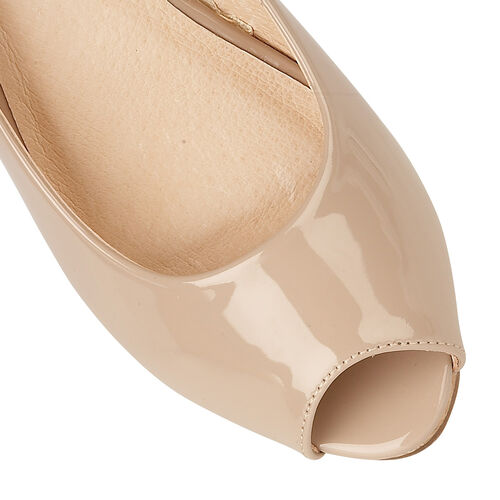 Lotus Patent Odina Peep-Toe Wedge Shoes (Size 6) - Nude