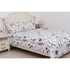 3 Piece Set - Multi Colour Floral Pattern King Quilt and 2 Pillow Cases (Size 2x50x70+5 Cm) - Coral