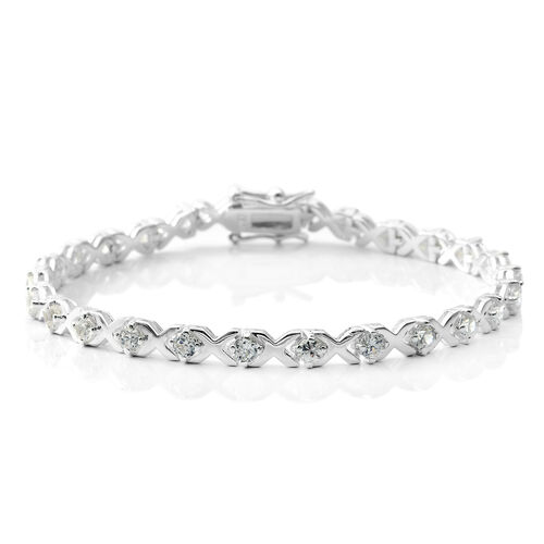 ELANZA Simulated Diamond (Rnd) Bracelet (Size 7) in Sterling Silver, Silver wt 8.25 Gms.