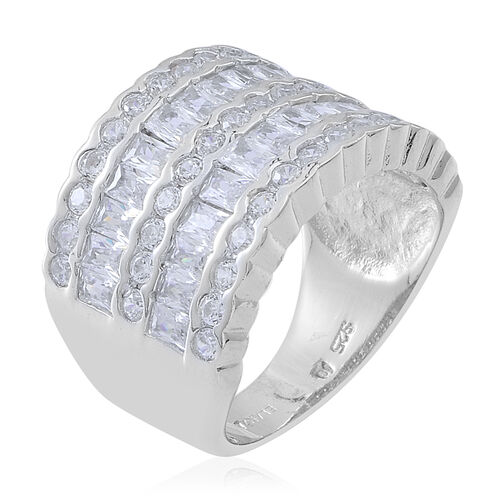 ELANZA Simulated White Diamond (Bgt) Ring in Sterling Silver
