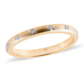 9K Yellow Gold SGL Certified Diamond (Rnd) (I3/G-H) Band Ring 0.15 Ct.