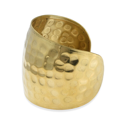 Designer Inspired- Hand Made Yellow Gold Plated Cuff Bangle (Size 7.5) with Hammered Finish
