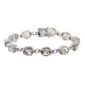 18 Ct Prasiolite Tennis Design Bracelet in Platinum Plated Silver 16 Grams 7.5 Inch
