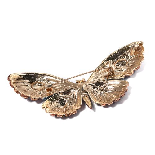 Designer Inspired- Multi Color Austrian Crystal (Rnd) Butterfly Brooch in Yellow Bond