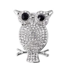 White and Black Austrian Crystal Owl Brooch in Silver Tone