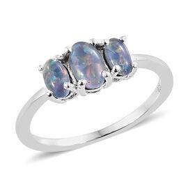 Australian Boulder Opal (Ovl) Three Stone Ring in Sterling Silver 0.750 Ct.
