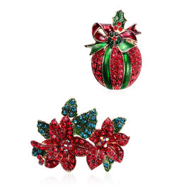 Set of 2 - Red and Green Colour Austrian Crystal Enamelled Brooch