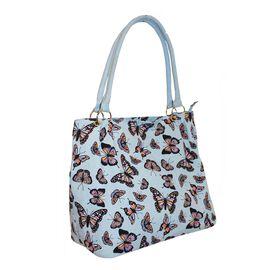 Super Auction- Blue Colour Butterfly Pattern Extra Large Tote Handbag (Size 34x37x20 Cm)