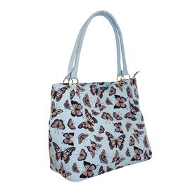Blue Colour Butterfly Pattern Extra Large Tote Handbag (Size 34x37x20 Cm)