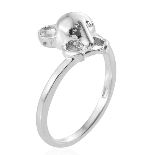 Character Mouse Ring in Platinum Overlay Silver, Silver Wt 2.88 gms