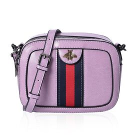 100% Genuine Leather Purple Colour Cross Body Bag (Size 20x7.5x15 Cm) with Detachable Shoulder Strap