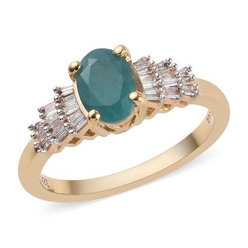 ILIANA AAAA Grandidierite and Diamond Ballerina Ring in 18K Yellow Gold 3.50 Grams SI GH 1 Carat