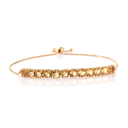 Citrine (Rnd) Adjustable Bracelet (Size 7.5) in 14K Yellow Gold Overlay Sterling Silver 5.500 Ct