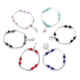 Set of 6 - Multi Gemstone Stretchable Bracelet (Szie 7) with Charms in Antique Silver Plating