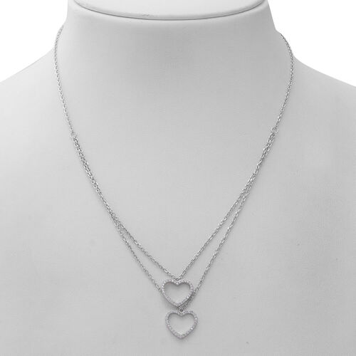 ELANZA Simulated Diamond (Rnd) Adjustable Necklace (Size 17.5 with 1 inch Extender) in Rhodium Overlay Sterling Silver