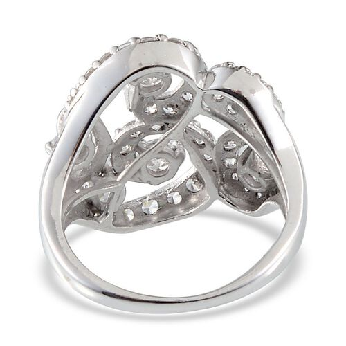 J Francis Platinum Overlay Sterling Silver (Rnd) Ring Made With Swarovski Zirconia