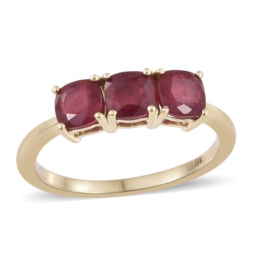 2.40 Ct AA African Ruby Trilogy Ring in 9K Gold