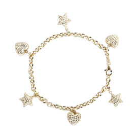 Close Out Buy- 9K Yellow Gold Heart and Star Charm Bracelet (Size 8).Gold WT 4.48 Gms