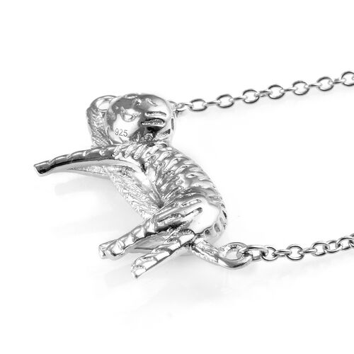 Platinum Overlay Sterling Silver Cat Necklace (Size 18), Silver wt 6.05 Gms.