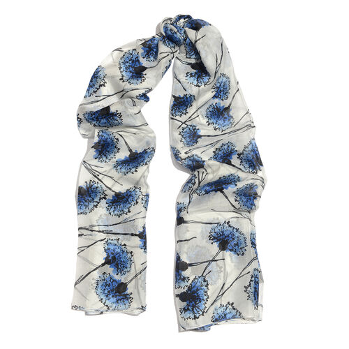 100% Mulberry Silk White and Blue Colour Hand Screen Carnation Floral Printed Scarf (Size 180x100 Cm)