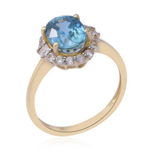 9K Yellow Gold Ratanakiri Blue Zircon and Natural Cambodian Zircon Ring 3.84 Ct.