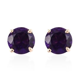 9K Yellow Gold Amethyst (Rnd) Stud Earrings (with Push Back) 1.50 Ct.