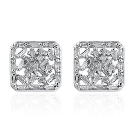 Diamond (Bgt and Rnd) Stud Earrings (with Push Back) in Platinum Overlay Sterling Silver 0.330 Ct