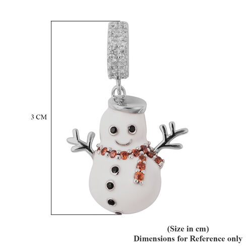 Charmes De Memoire- Simulated Garnet, Simulated Black & White Diamond Snowman Enamelled Charm in Sterling Silver