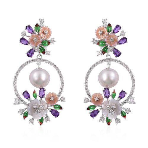 Jardin Collection - South Sea White Pearl (10-11mm), Amethyst and Multi Gemstone Enameled Flower Earrings (with French Clip) in Rhodium Plated Sterling Silver
